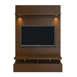 Manhattan Comfort Cabrini 1.2 Floating Wall Theater Entertainment Center in Nut Brown