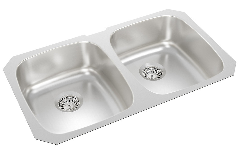 Stainless Steel Double Bowl Undermount Sink - 18 inch x 31 inch x 7 inch