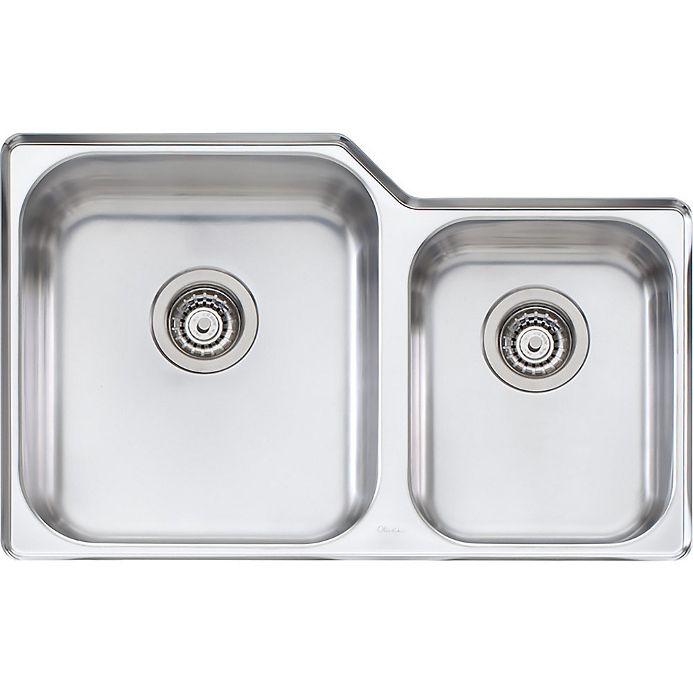 Stainless Steel One and Three-Quarters Undermount Sink - 31 inch x 20 inch x 8 inch & 5.5 inch