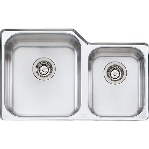 Wessan Stainless Steel One and Three-Quarters Undermount Sink - 31 inch x 20 inch x 8 inch & 5.5 inch