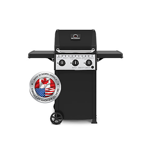 3-Burner Cart-Style Propane BBQ with Folding Shelves and Cast Iron Grids