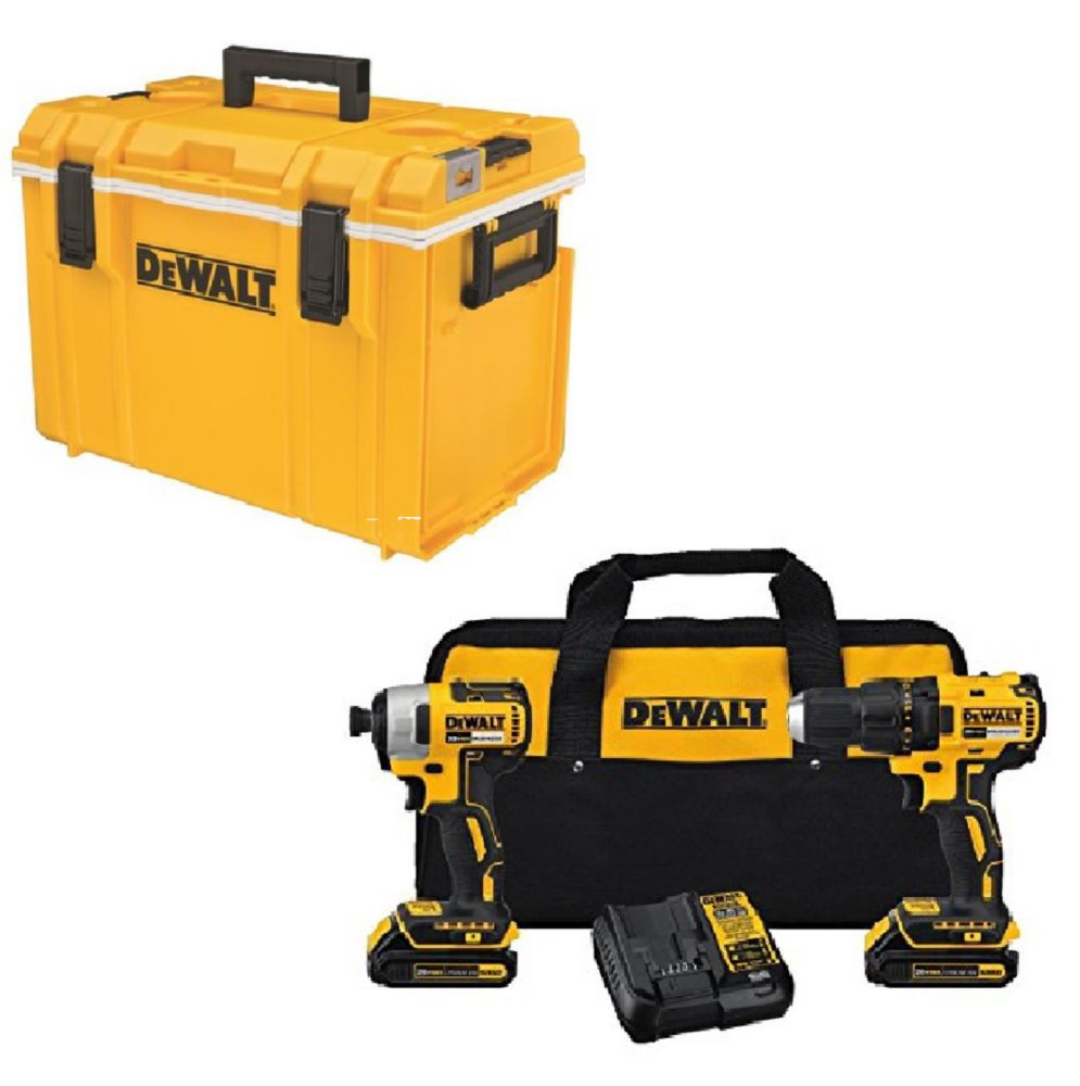 DEWALT 20V Compact Brushless Drill/Driver (2-Tool) and ToughSystem Cooler