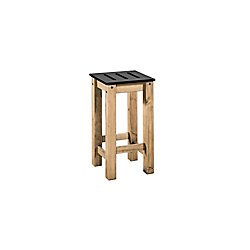 """Manhattan Comfort Stillwell 24.8"""""""" Tall Barstool in Black and Natural Wood (Set of 2)"""