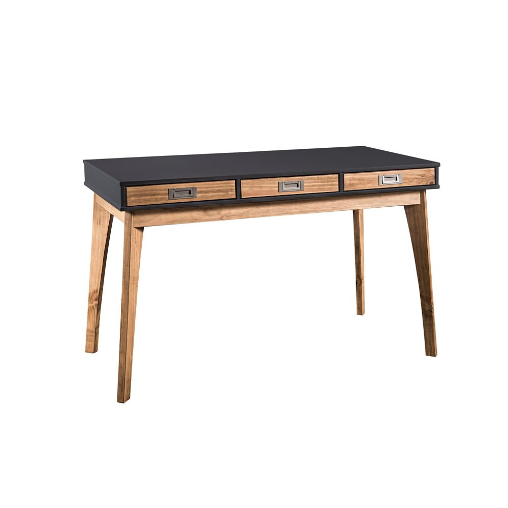 Manhattan Comfort Jackie Home Office Desk in Dark Grey and Natural Wood