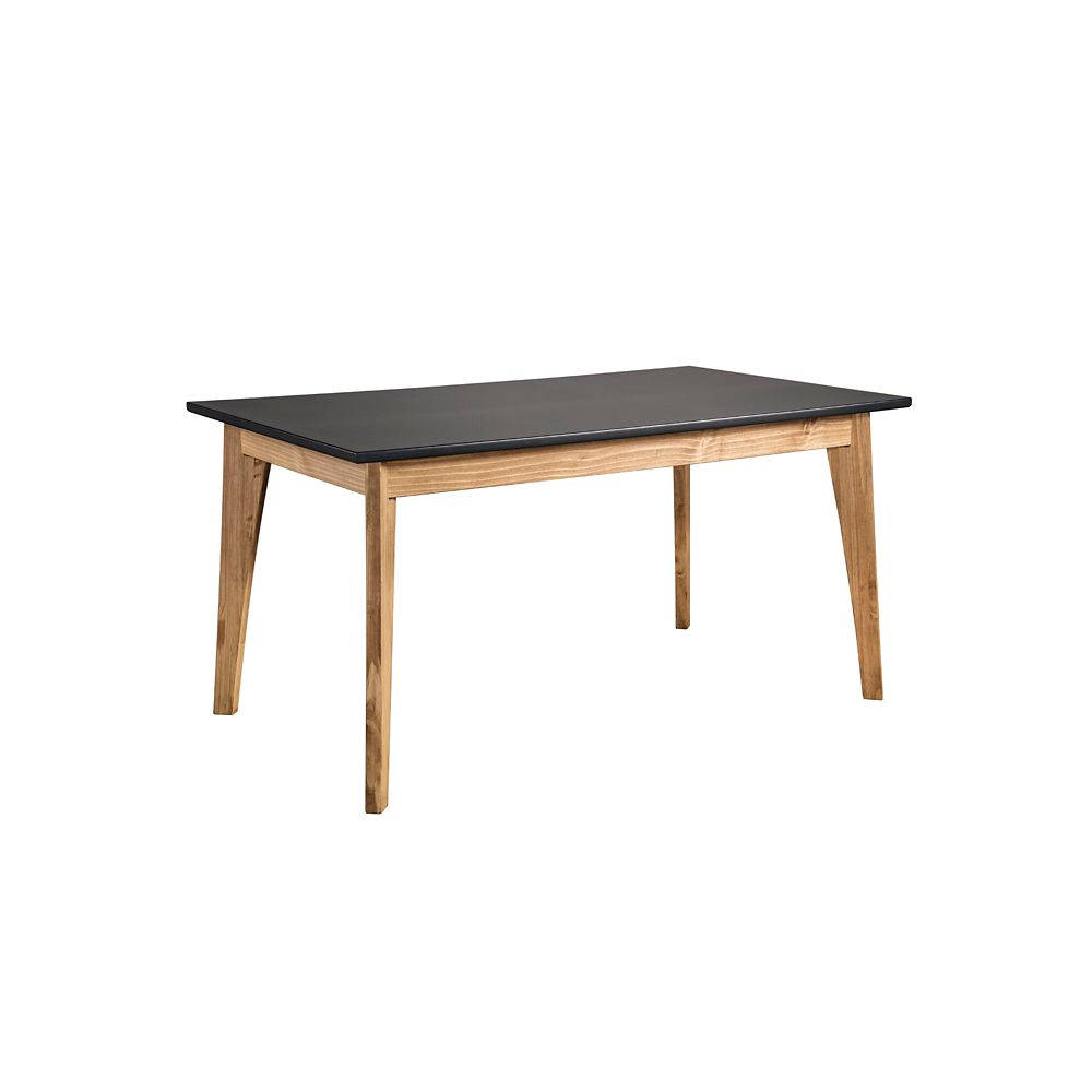 Manhattan Comfort Jackie 6-Seat Dining Table in Dark Grey and Natural Wood