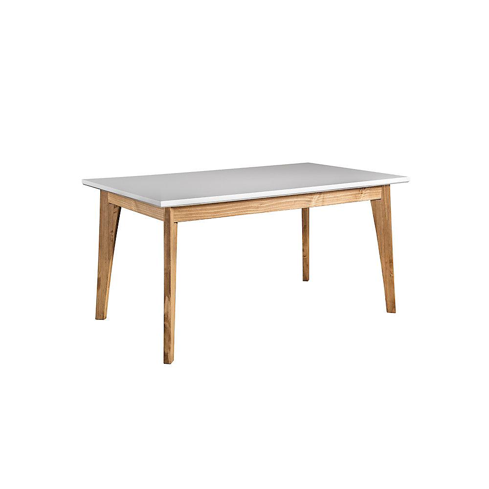 Table de salle à manger 6 places Jackie en bois blanc et naturel