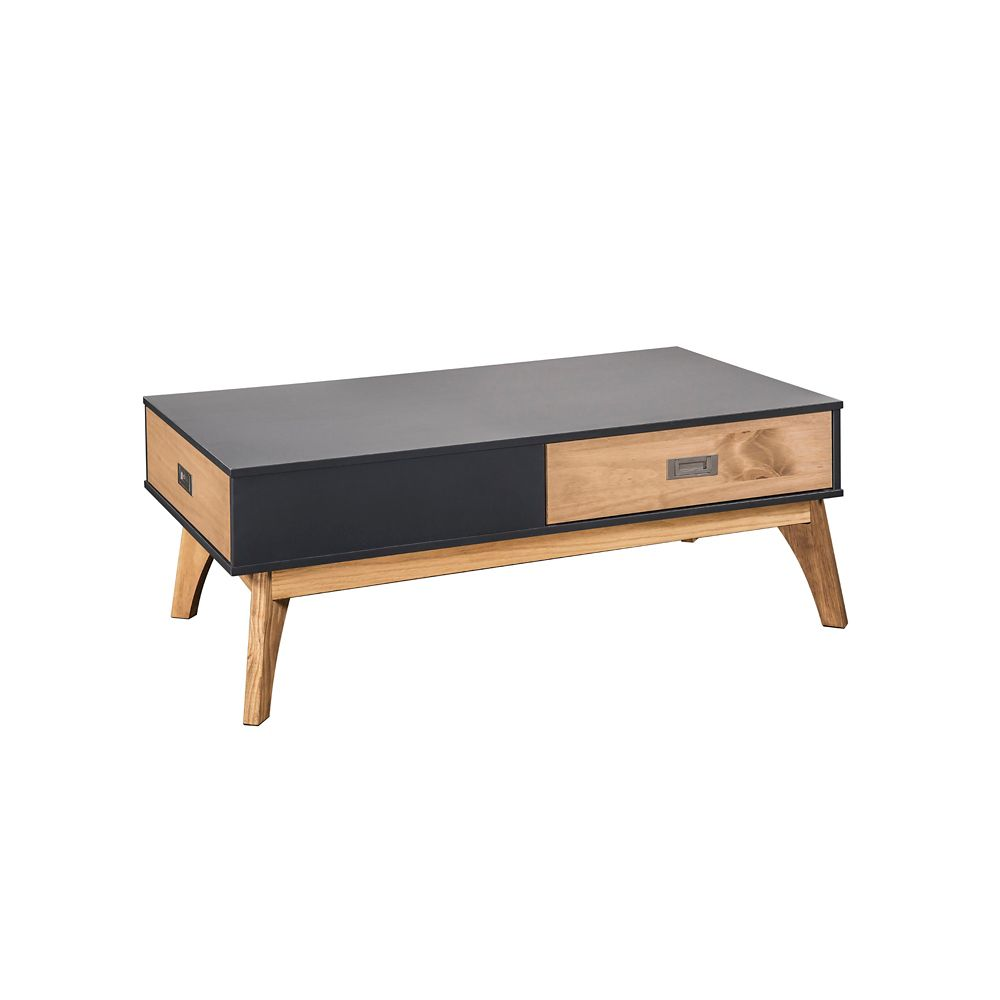 Manhattan Comfort Jackie 1.0 Coffee Table in Dark Grey and Natural Wood