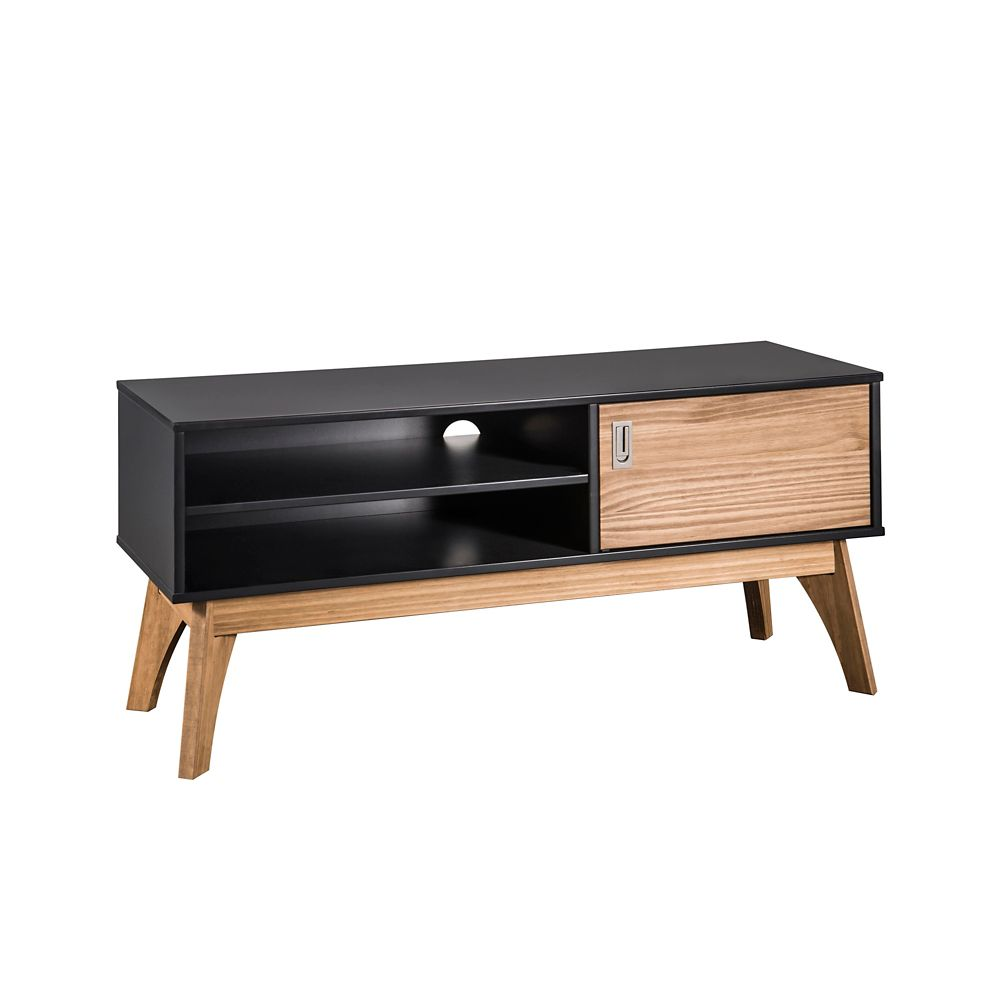 "Manhattan Comfort Jackie 43.3"" TV Stand in Dark Grey and Natural Wood"