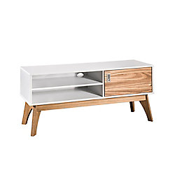 """Manhattan Comfort Jackie 43.3"""" TV Stand in White and Natural Wood"""