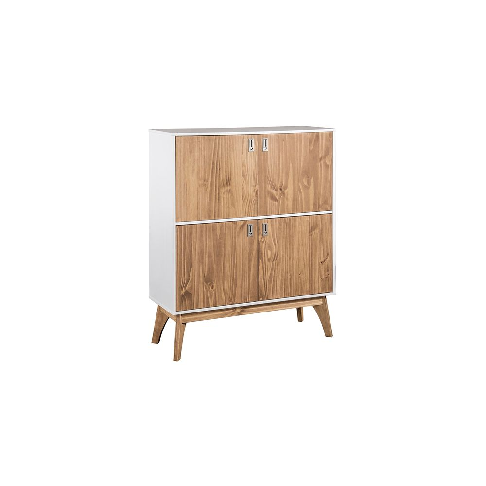 """Manhattan Comfort Jackie 49.4"""" High Dresser Cabinet in White and Natural Wood"""