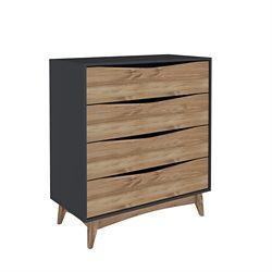 """Manhattan Comfort Hamilton 35.03"""" Wide Dresser in Dark Grey and Wood"""