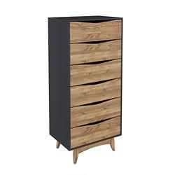 "Manhattan Comfort Hamilton 53.54"" Tall Dresser in Dark Grey and Wood"