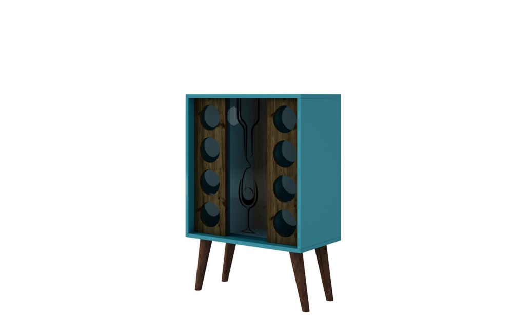 Manhattan Comfort Lund 8 Bottle Wine Cabinet and Display in Aqua and Rustic Brown