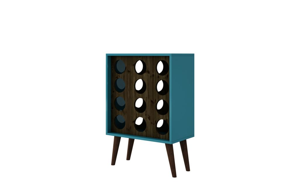 Manhattan Comfort Lund 12 Bottle Wine Cabinet and Display in Aqua and Rustic Brown