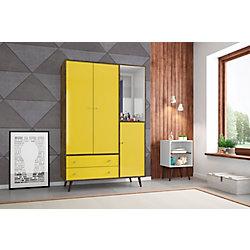 """Manhattan Comfort Armoire Liberty 47.83 """"de large avec miroir, 4 étagères et 2 tiroirs en brun rustique et jaune"""