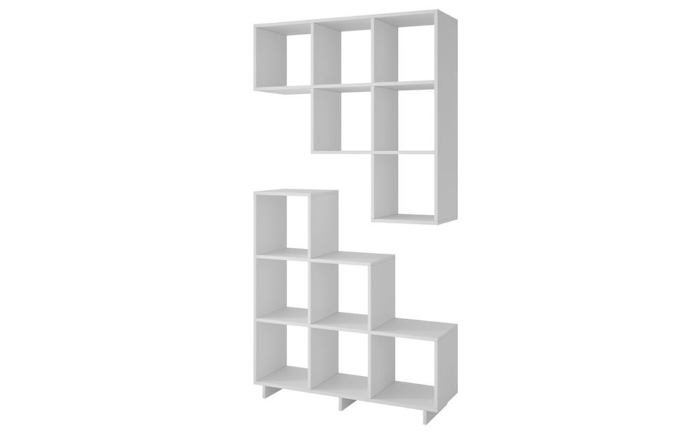 Accentuations by Manhattan Comfort Cascavel Stair Cubby with 6 Cube Shelves in White. Set of 2