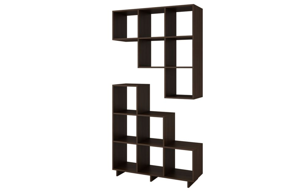 Accentuations by Manhattan Comfort Cascavel Stair Cubby with 6 Cube Shelves in Tobacco. Set of 2