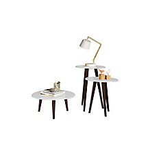 Carmine Mid Century - Modern End Tables - Set of 3 in White with Solid Wood Splayed Legs