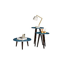 Carmine Mid Century - Modern End Tables - Set of 3 in Aqua Blue with Solid Wood Splayed Legs