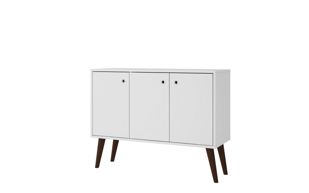 """Manhattan Comfort Bromma 35.43"""" Buffet Stand with 3 Shelves and 3 Doors in White"""
