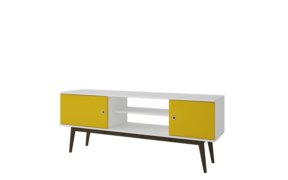 Accentuations by Manhattan Comfort Salem Splayed LegTV  Stand in White and Yellow.