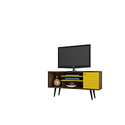 """Manhattan Comfort Liberty 53.14"""" Modern TV Stand with 5 Shelves and 1 Door in Rustic Brown and Yellow"""