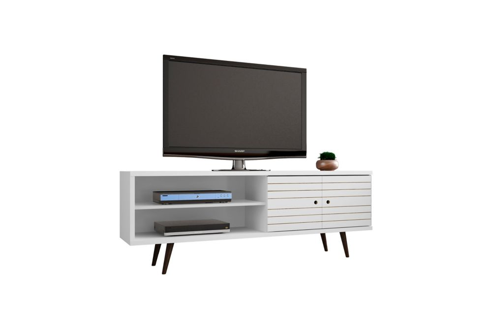 """Manhattan Comfort Liberty 62.99"""" Modern TV Stand with 3 Shelves and 2 Doors in White"""