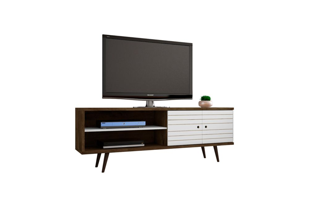 """Liberty 62.99"""" Modern TV Stand with 3 Shelves and 2 Doors in Rustic Brown and White"""