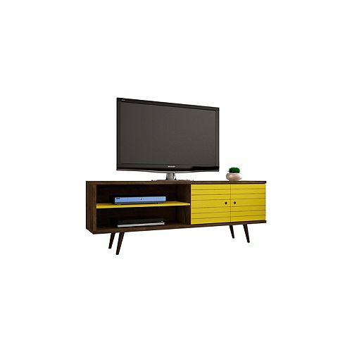 """Manhattan Comfort Liberty 62.99"""" Modern TV Stand with 3 Shelves and 2 Doors in Rustic Brown and Yellow"""
