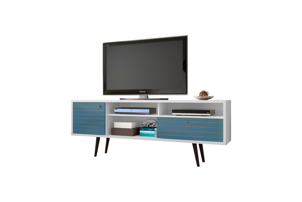 """Manhattan Comfort Liberty 70.86"""" Modern TV Stand with 4 Shelving Spaces and 1 Drawer in White and Aqua Blue"""