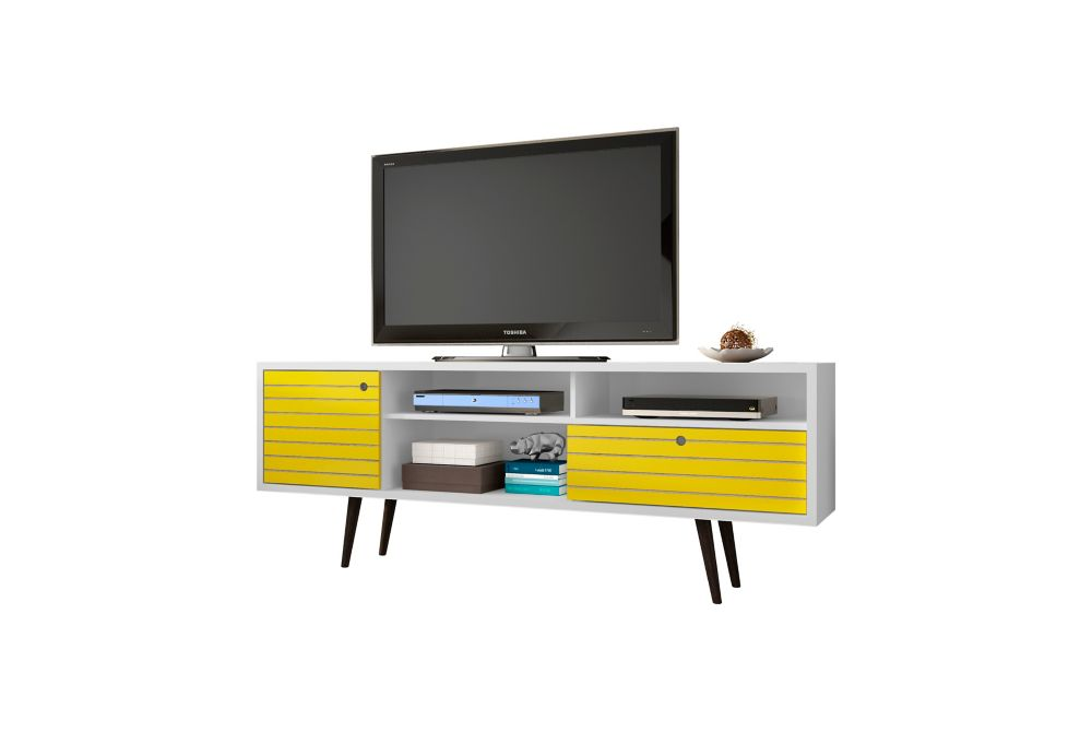"Liberty 70.86"" Modern TV Stand with 4 Shelving Spaces and 1 Drawer in White and Yellow"