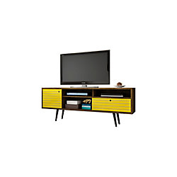 "Manhattan Comfort Liberty 70.86"" Modern TV Stand with 4 Shelving Spaces and 1 Drawer in Rustic Brown and Yellow"