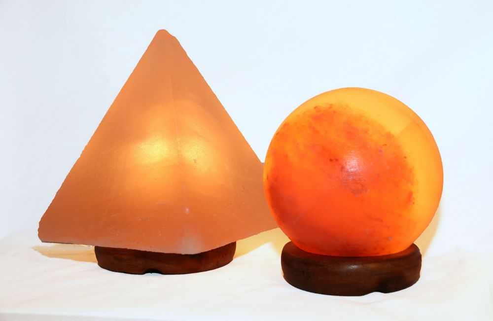"""Accentuations by Manhattan Comfort 5"""" Sphere Shaped Himalayan Salt Lamp 1.5 and 9"""" Pyramid Lamp with Dimmer"""
