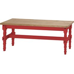 "Manhattan Comfort Jay 47.25"" Solid Wood Dining Bench in Red Wash"