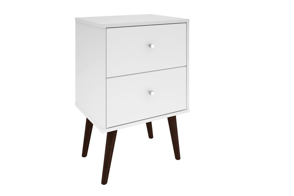Manhattan Comfort Liberty Modern Nightstand 2.0 with 2 Full Extension Drawers in White