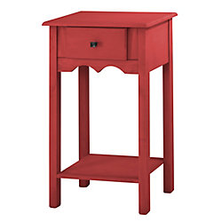 "Manhattan Comfort Jay 35.43"" Tall End Table with 1 Full Extension Drawer in Red Wash"