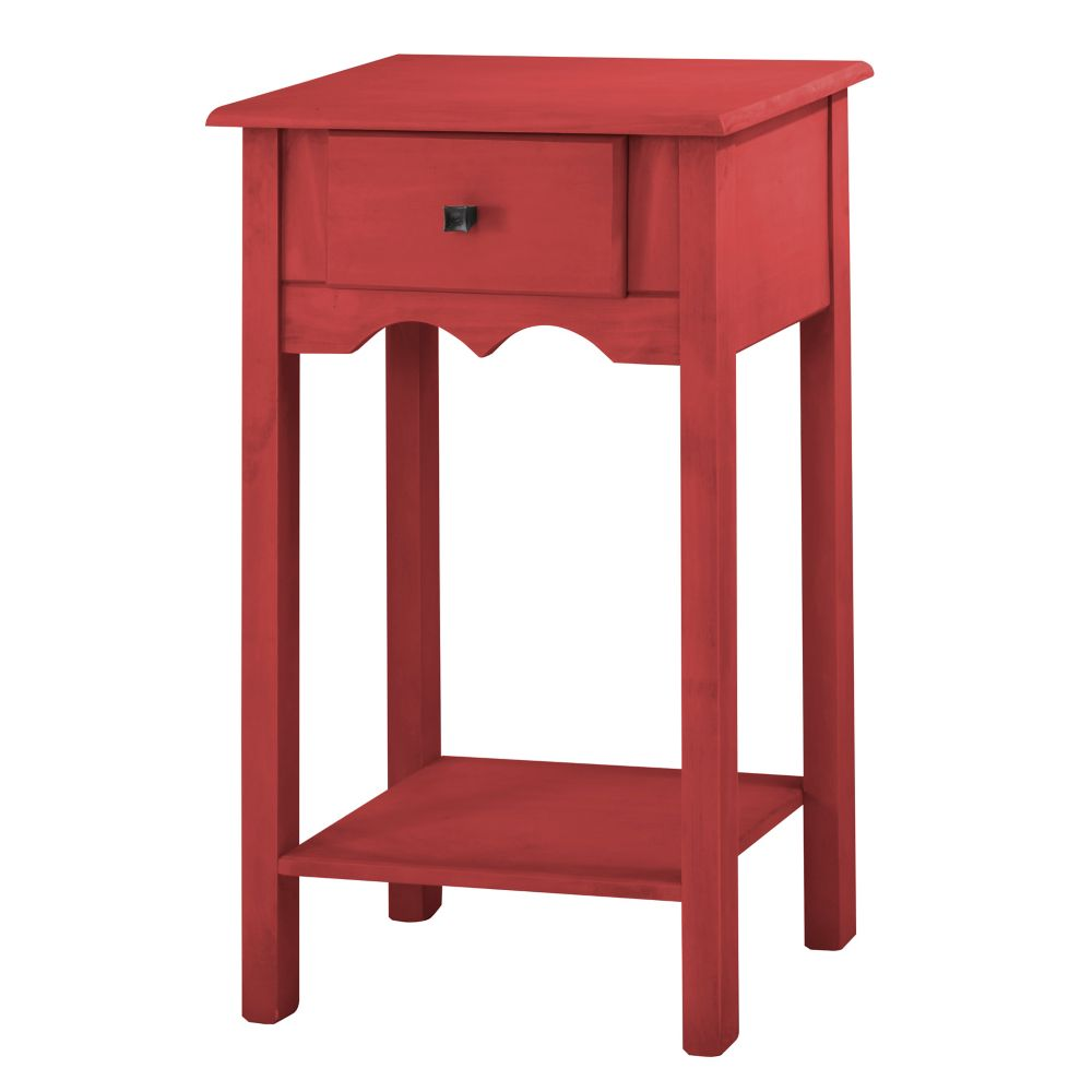 """Manhattan Comfort Jay 35.43"""" Tall End Table with 1 Full Extension Drawer in Red Wash"""