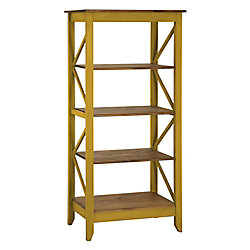 "Manhattan Comfort Jay 31.5"" Solid Wood Bookcase with 4 Shelves in Yellow Wash"