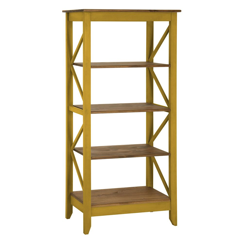 """Manhattan Comfort Jay 31.5"""" Solid Wood Bookcase with 4 Shelves in Yellow Wash"""