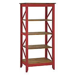 """Manhattan Comfort Jay 31.5"""" Solid Wood Bookcase with 4 Shelves in Red Wash"""