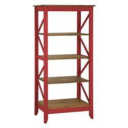 Manhattan Comfort Jay Bibliothèque de 31,5 pouce avec 4 étagères en rouge