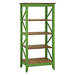 """Manhattan Comfort Jay 31.5"""" Solid Wood Bookcase with 4 Shelves in Green Wash"""