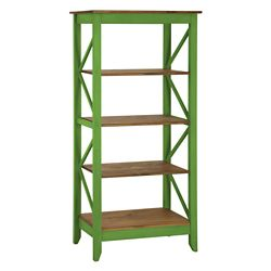 "Manhattan Comfort Jay 31.5"" Solid Wood Bookcase with 4 Shelves in Green Wash"
