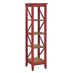 "Manhattan Comfort Jay 18.5"" Solid Wood Bookcase with 4 Shelves in Red Wash"