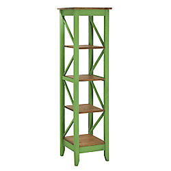 """Manhattan Comfort Jay 18.5"""" Solid Wood Bookcase with 4 Shelves in Green Wash"""