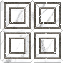 Enigma Statuario Piazza Polished Porcelain Mosaics (9.68 sq.ft. / case)