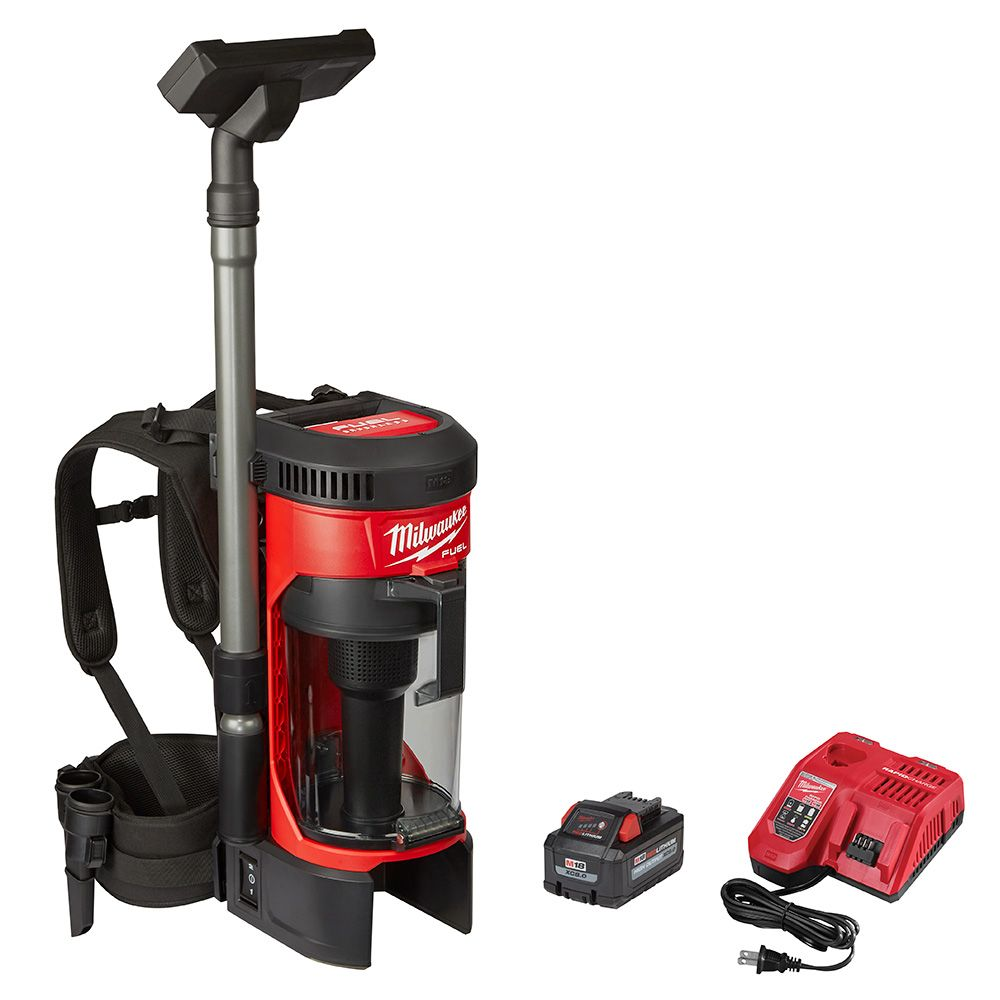 Milwaukee Tool M18 Fuel 18V Li-Ion Brushless Cordless 1 Gal. 3-in-1 Backpack Vacuum Kit & One 9.0 Ah Battery & Acc