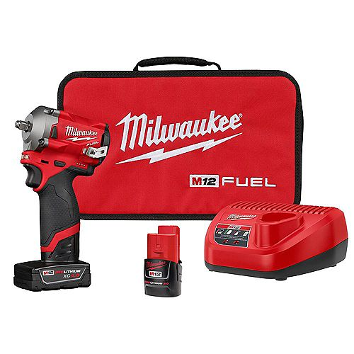 Milwaukee Tool M12 FUEL 12V Li-Ion Brushless Cordless Stubby 3/8 in Impact Wrench Kit with 4.0Ah & 2.0Ah Batteries