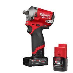 Milwaukee Tool M12 FUEL 12V Li-Ion Brushless Cordless Stubby 1/2-Inch Impact Wrench Kit w/Pin Detent, 2 Batteries & Bag