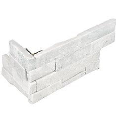 Carreau d'angle assemblé Arctic Bianco, 6 po x 18 po, 6 morceaux/caisse, pierre de ledger